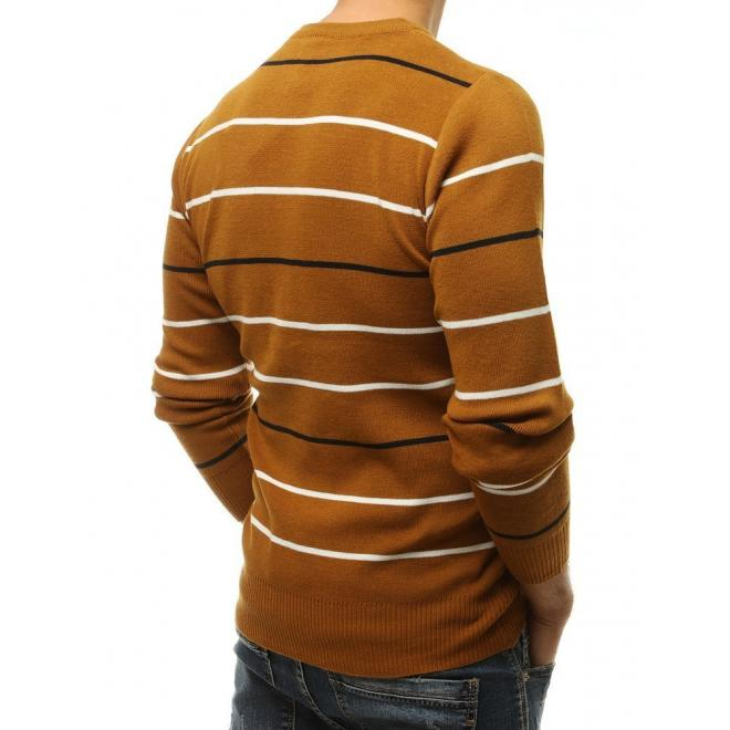 Pánský proužkovaný svetr s kulatým výstřihem v hnědé barvě
