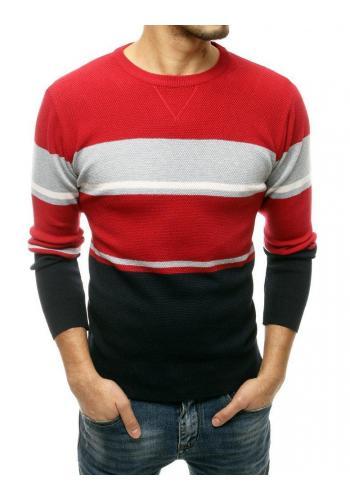 Červený stylový svetr s kontrastními pruhy pro pány
