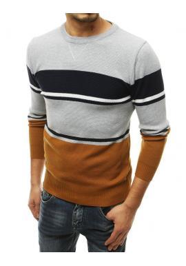 Stylový pánský svetr světle šedé barvy s kontrastními pruhy