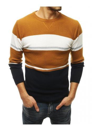 Pánský stylový svetr s kontrastními pruhy v hnědé barvě