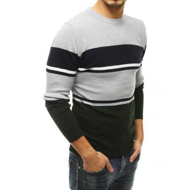 Zelený stylový svetr s kontrastními pruhy pro pány