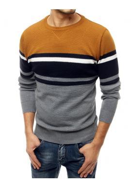 Módní pánský svetr světle šedé barvy s kontrastními pruhy