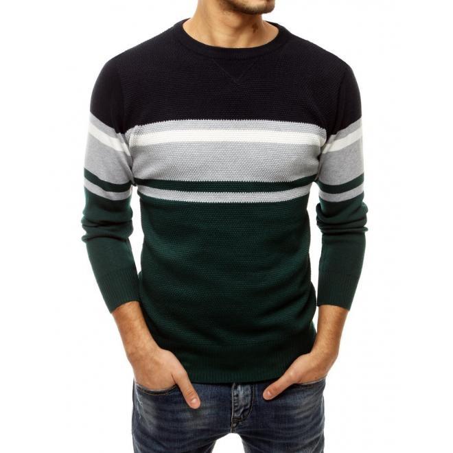Pánský módní svetr s kontrastními pruhy v zelené barvě