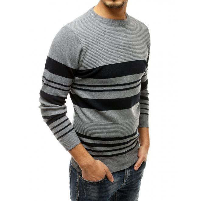 Šedý klasický svetr s kontrastními pruhy pro pány