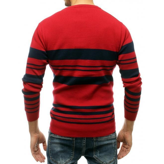 Klasické pánské svetry červené barvy s kontrastními pruhy