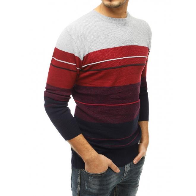 Pánský stylový svetr s kontrastními pruhy v světle šedé barvě