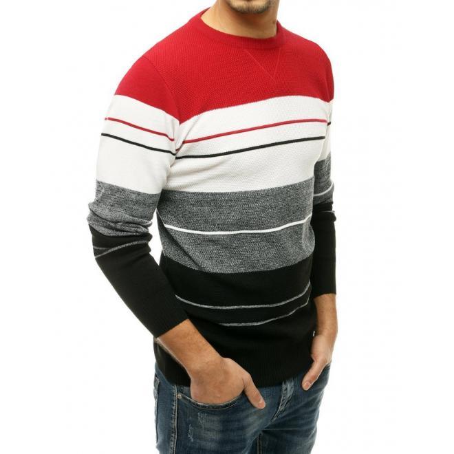 Stylový pánský svetr červené barvy s kontrastními pruhy