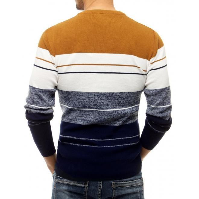 Pánský stylový svetr s kontrastními pruhy v béžové barvě