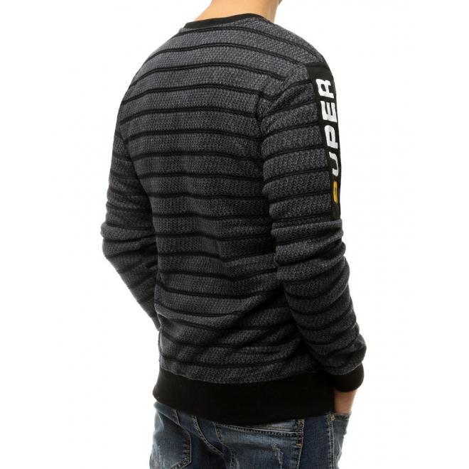 Stylová pánská mikina tmavě šedé barvy barvy s ozdobným zipem
