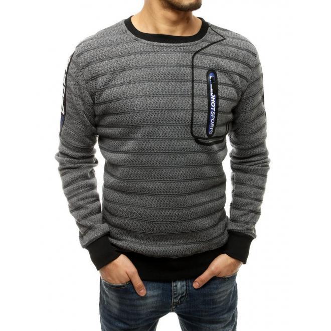 Pánská stylová mikina s ozdobným zipem v světle šedé barvě