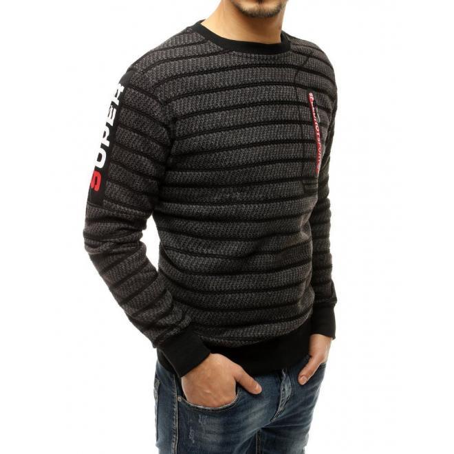 Černá stylová mikina s ozdobným zipem pro pány