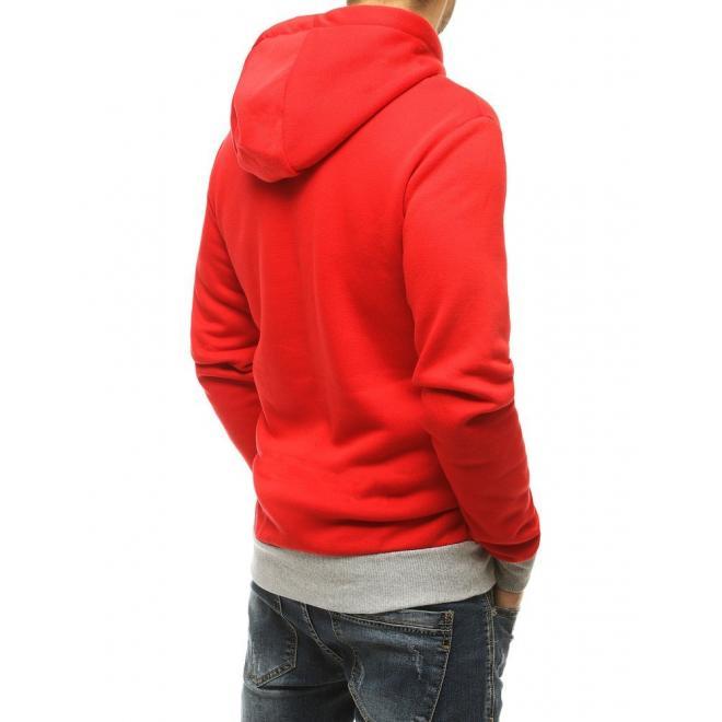 Klasická pánská mikina červené barvy s potiskem