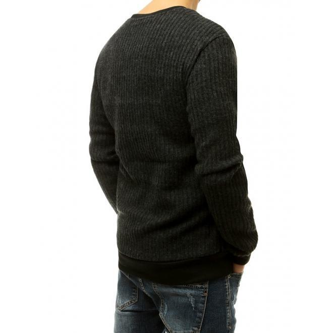 Klasická pánská mikina černé barvy bez kapuce