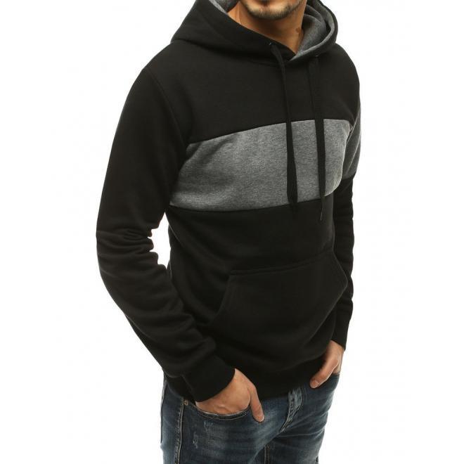 Oteplená pánská mikina černé barvy s kapucí