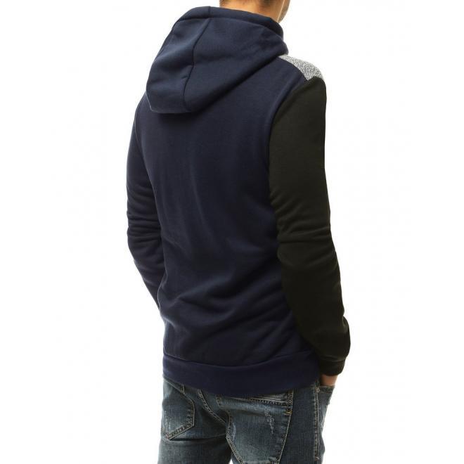 Módní pánská mikina tmavě modré barvy s kontrastními vložkami