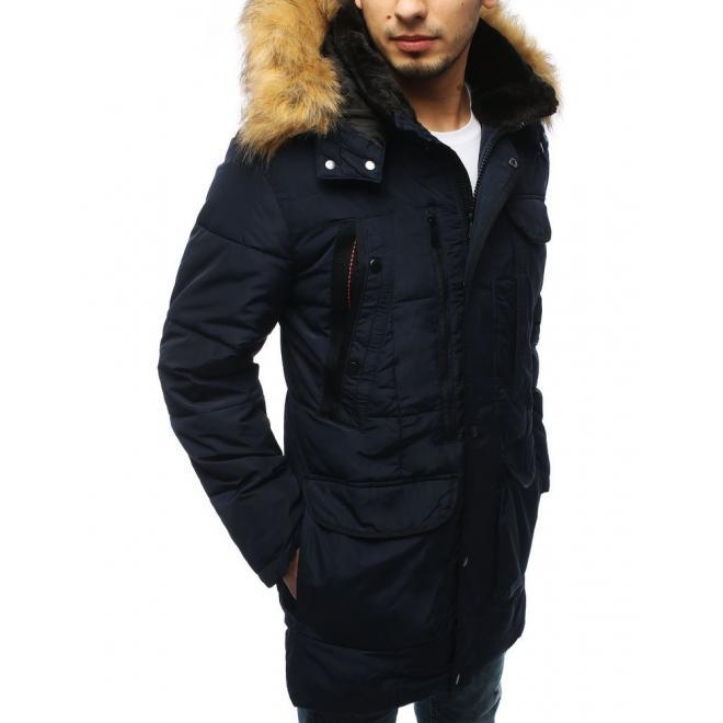 Pánská zimní bunda s prošíváním v tmavě modré barvě