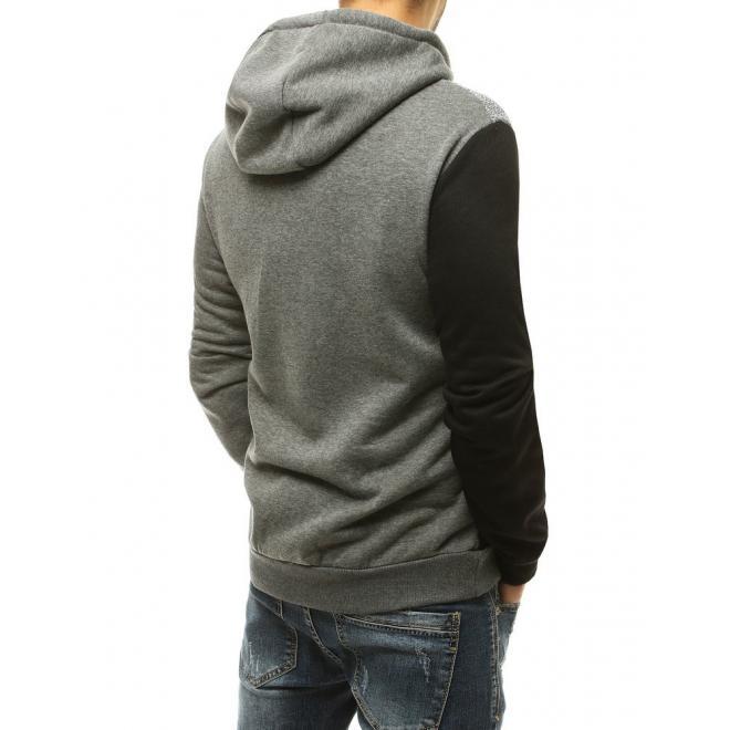 Pánské módní mikiny s kontrastními vložkami v šedé barvě