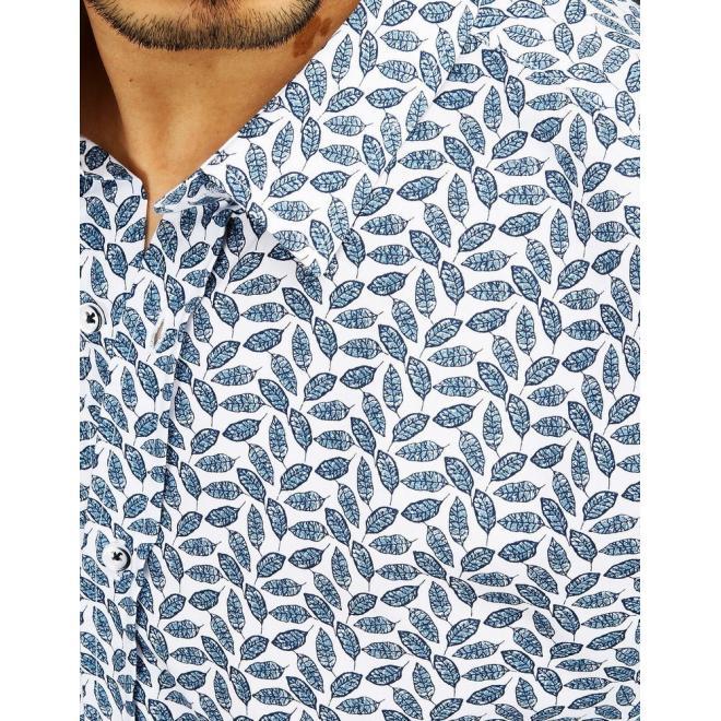 Pánské elegantní košile se vzorem v bílé barvě