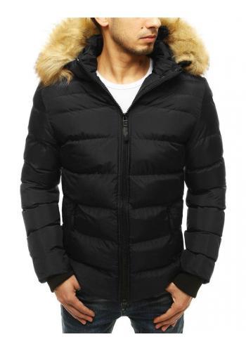 Černá prošívaná bunda na zimu pro pány ve výprodeji