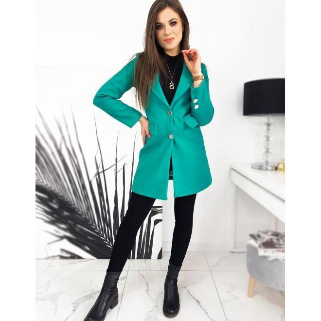Tyrkysový elegantní kabát se dvěma knoflíky pro dámy