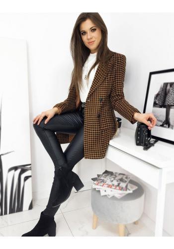 Hnědý vzorovaný kabát s páskem pro dámy