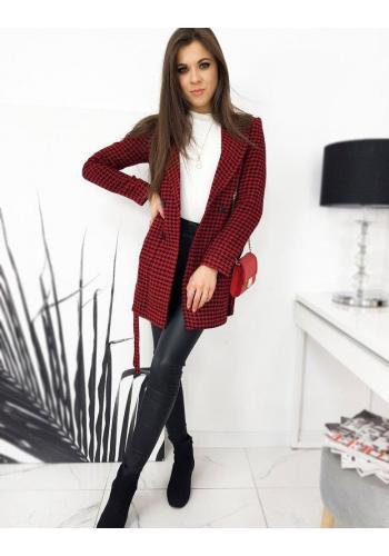Vzorovaný dámský kabát červené barvy s páskem
