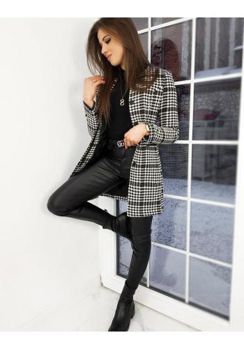 Dámský elegantní kabát se vzorem v kaki barvě