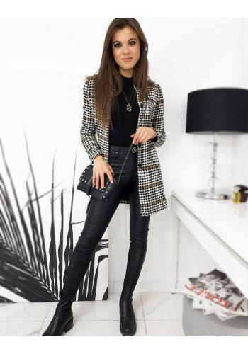 Elegantní dámský kabát hnědé barvy se vzorem