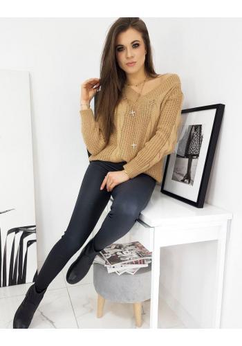 Hnědý volný svetr s véčkovým výstřihem pro dámy
