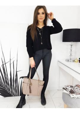 Dámský volný svetr s véčkovým výstřihem v černé barvě
