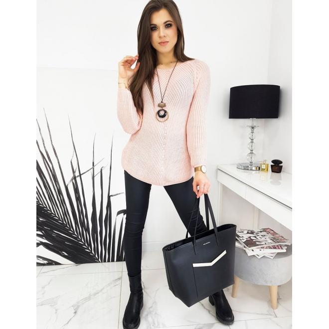 Růžový volnější svetr pro dámy