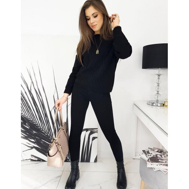 Volný dámský svetr černé barvy se vzorem