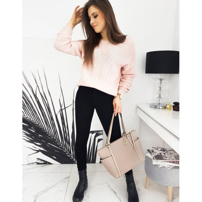 Dámský volný svetr se vzorem v růžové barvě