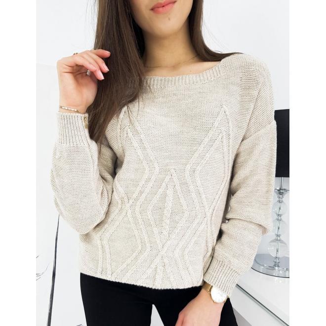 Béžový volný svetr se vzorem pro dámy