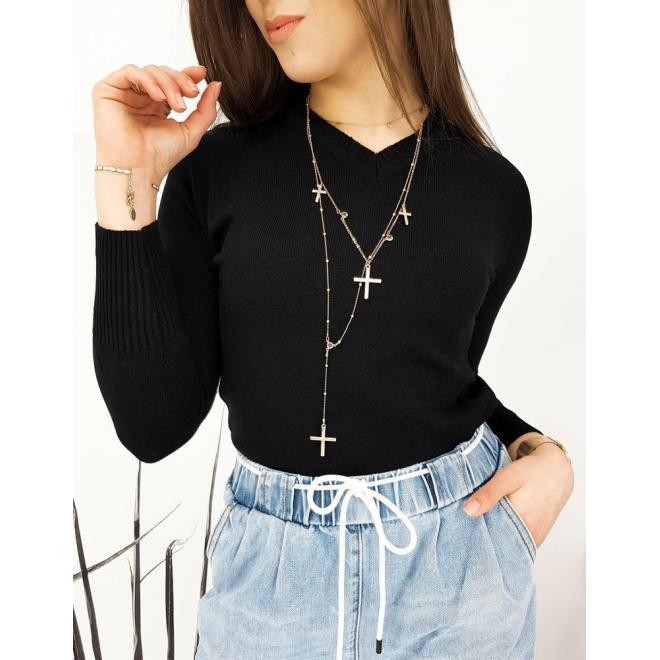 Klasický dámský svetr černé barvy s véčkovým výstřihem