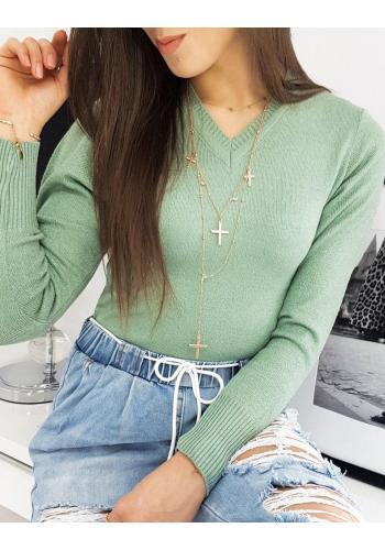 Dámský klasický svetr s véčkovým výstřihem v zelené barvě