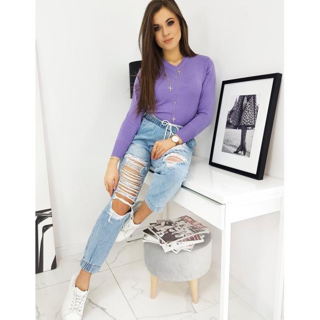 Fialový klasický svetr s véčkovým výstřihem pro dámy