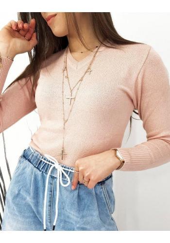 Klasické dámské svetry růžové barvy s véčkovým výstřihem