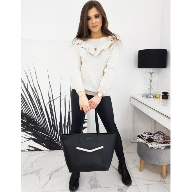Béžový elegantní svetr s volánem pro dámy
