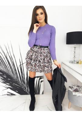 Dámský klasický svetr s kulatým výstřihem ve fialové barvě
