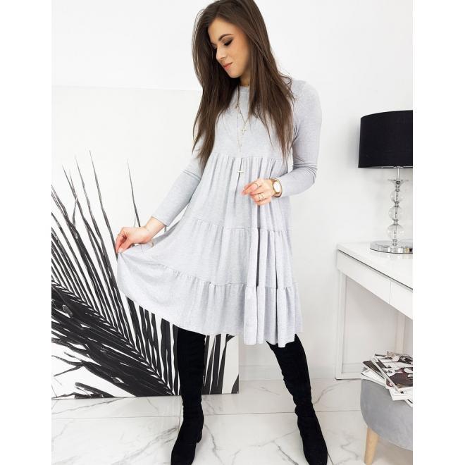 Oversize dámské šaty světle šedé barvy s dlouhým rukávem