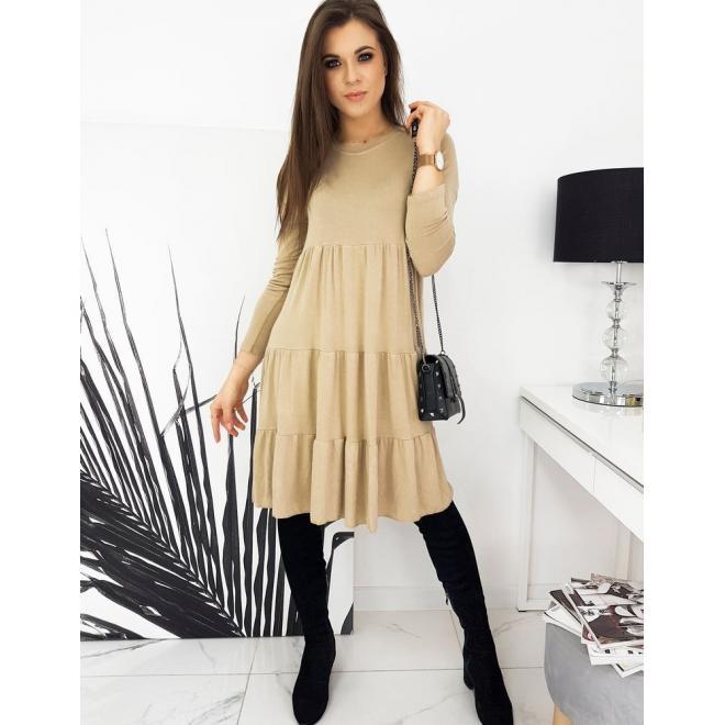 Béžové oversize šaty s dlouhým rukávem pro dámy