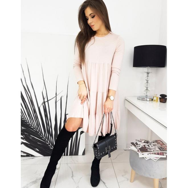 Dámské oversize šaty s dlouhým rukávem v růžové barvě