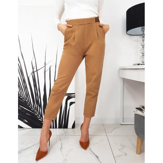 Dámské elegantní kalhoty s volnějším střihem v hnědé barvě