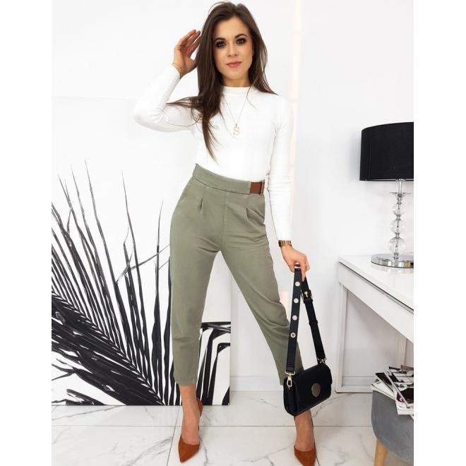 Elegantní dámské kalhoty khaki barvy s volnějším střihem
