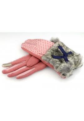 Vzorované dámské rukavice růžové barvy s kožešinou