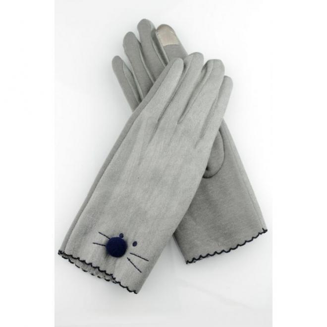 Zimní dámské rukavice šedé barvy s tváří kočky