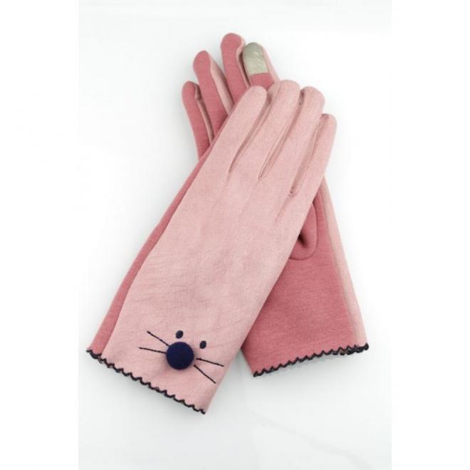 Růžové zimní rukavice s tváří kočky pro dámy