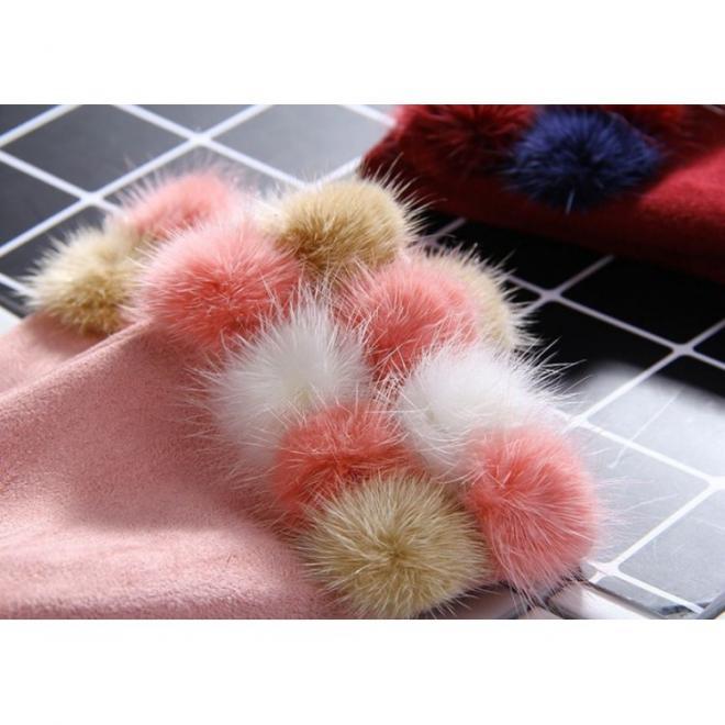 Růžové elegantní rukavice s pompony pro dámy