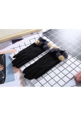 Dámské elegantní rukavice s pompony v černé barvě